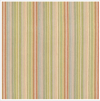 A striped carpet/rug used horizontally appears to widen a room