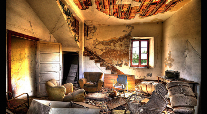 No home design in a bombed out room
